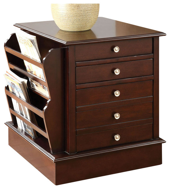 Espresso Accent Side End Table w/ Side Magazine Rack and Front Storage Drawers - Contemporary ...