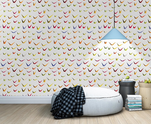 tapete paper birds modern tapeten other metro von tapetenagentur. Black Bedroom Furniture Sets. Home Design Ideas