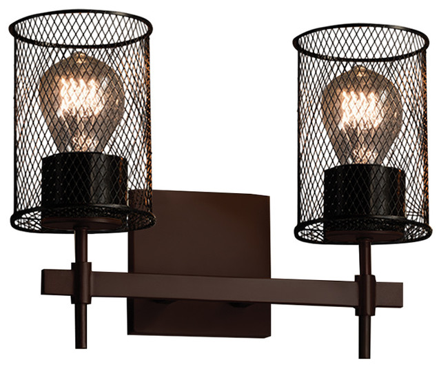 Wire Mesh Union 2-Light Bath Bar - Transitional - Bathroom Vanity Lighting - by Justice Design ...
