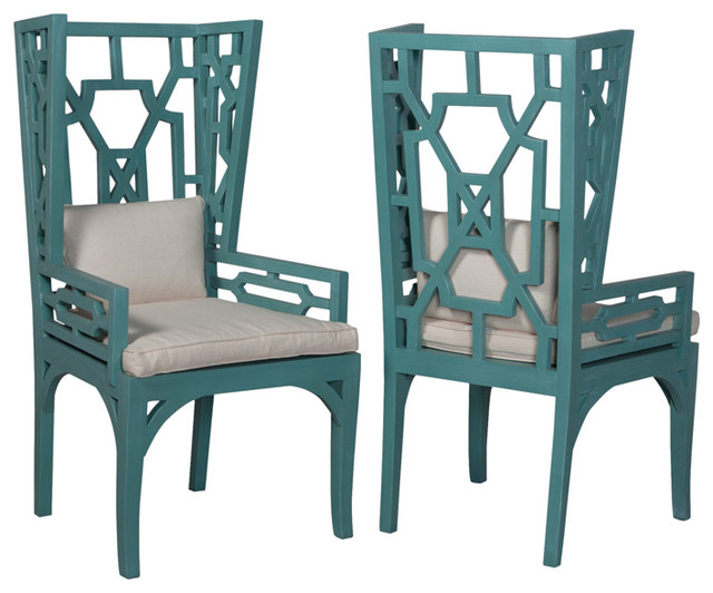 Teal Manor Wing Chair 47 5 Quot X24 3 Quot Transitional Dining