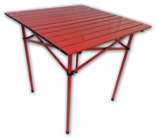 tall aluminum portable table in a bag red contemporary