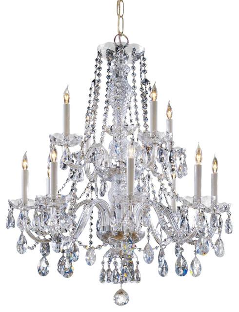 Crystal chandeliers light up : Traditional crystal twelve light polished brass up