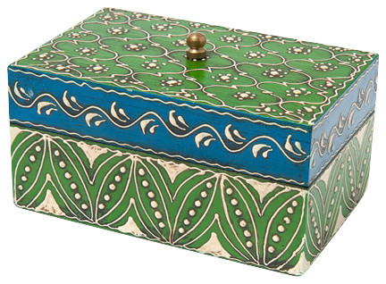 small hand painted wooden box with lid traditional. Black Bedroom Furniture Sets. Home Design Ideas
