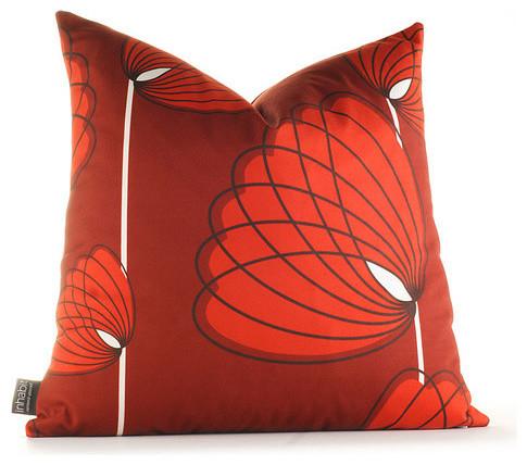 Modern Lotus Pillow : Aequorea Lotus Pillow in Scarlet - Modern - Scatter Cushions