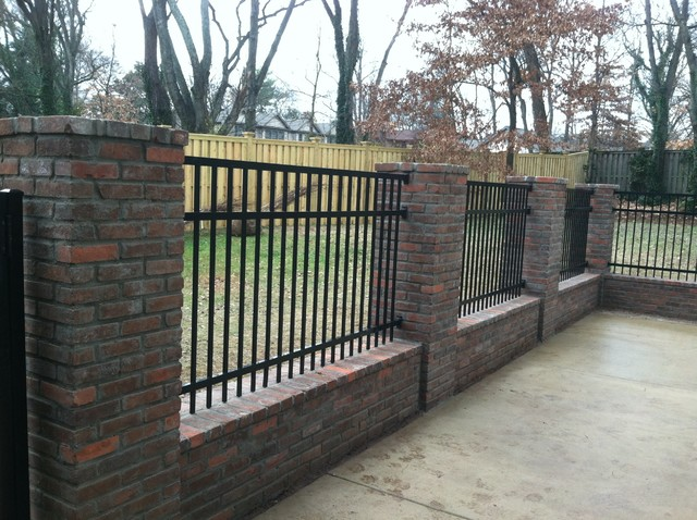 brick columns with fence traditional nashville by