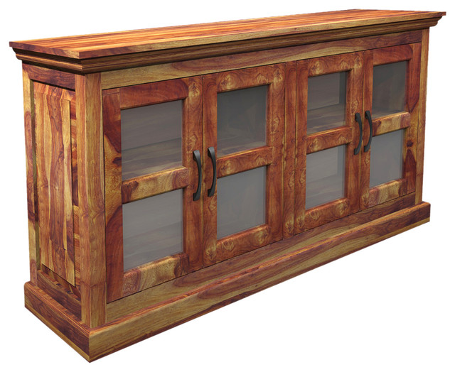 Dallas Ranch Indian Rosewood Buffet Cabinet w Glass Windows - Rustic ...
