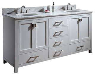 72 toscana double sink vanity white traditional bathroom vanities and sink consoles san for Bathroom vanities san diego