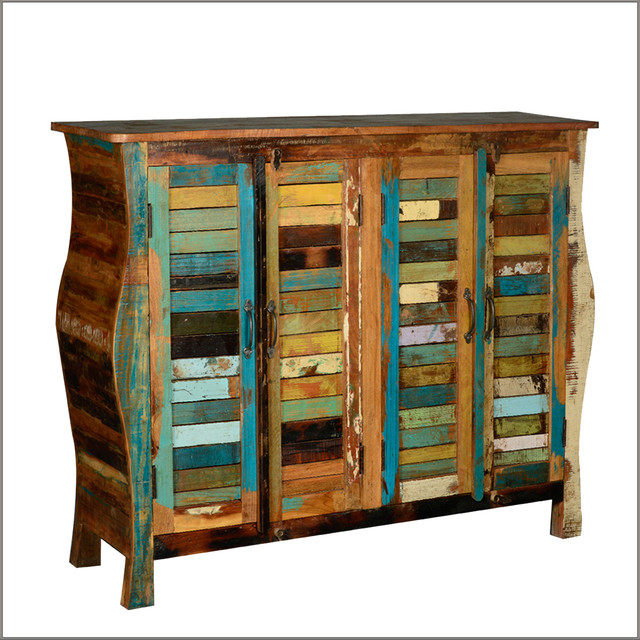 Rustic Reclaimed Wood Distressed 4 Door Buffet Cabinet