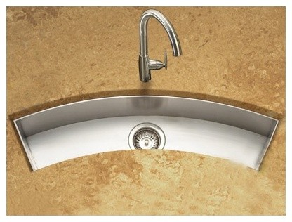 Trough Bar Sink : ... Curved Trough Bar/Prep Sink in Brushed Satin - Modern - Bar Sinks