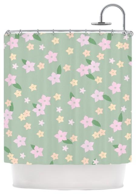 kess original spring floral green pink shower curtain