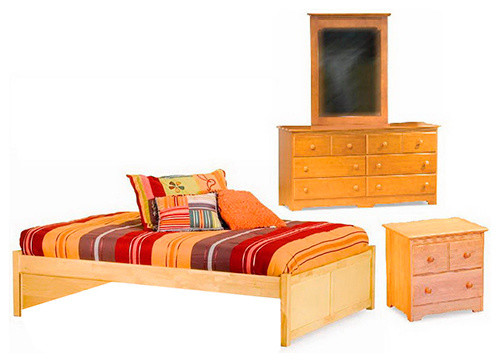Concord flat panel footboard 4 pc natural maple bedroom - Contemporary maple bedroom furniture ...