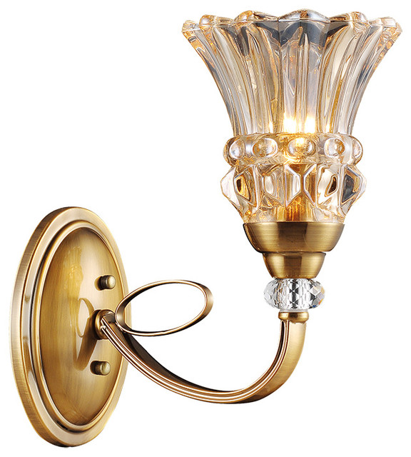 Modern Gold Brown Wall Sconce with Glass Shade - Traditional - Wall Sconces - by ParrotUncle