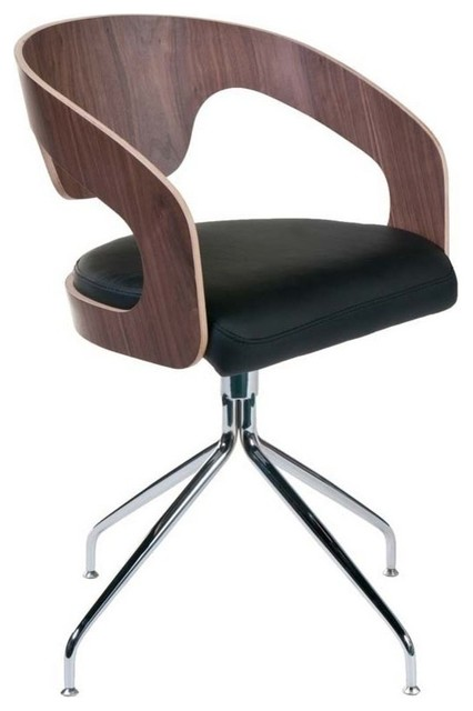Eurostyle bernice leatherette swivel arm chair in walnut for Swivel dining chairs modern