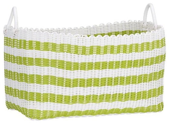Woven Green And White Laundry Basket