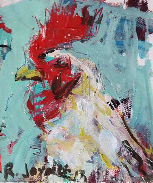 Abstract Rooster Painting - Farmhouse - Mixed Media Art - Richmond