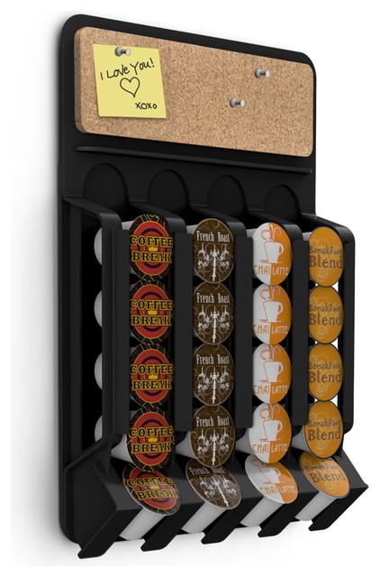 Fridge Wall Mount K-Cup Coffee Pod Dispenser With Cork Top, Black - Modern - Coffee And Tea ...