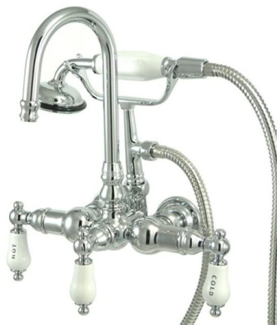 Kingston Brass Wall Mount Clawfoot Tub Filler With Hand Shower Contemporary