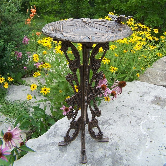 Oakland Living Butterfly Dragonfly Bird Bath 5084 AB Contemporary Bird