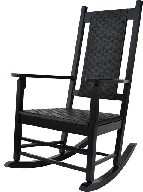 Hampton Porch Rocker Black Traditional Outdoor Rocking Chairs by Shine