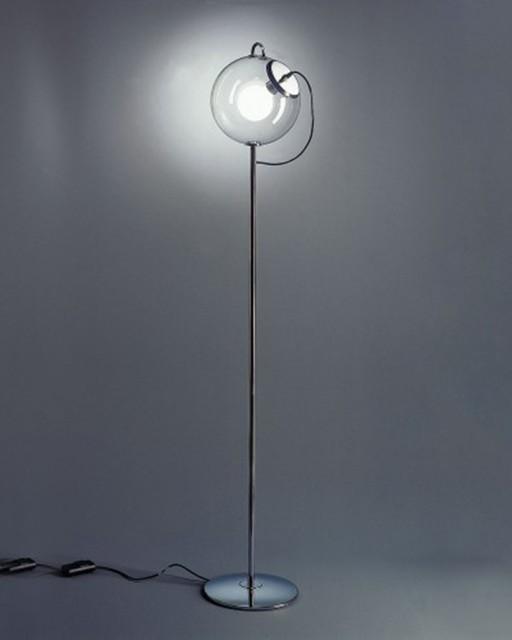Modern Metal Floor Lamp: Metal Base Glass Bubble Shade Modern Floor Lamp
