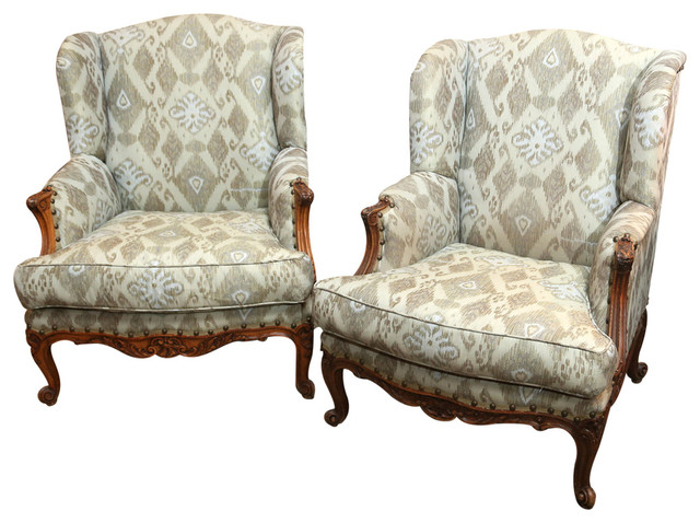Set Of French Louis XV Style Large Bergeres Modern Armchairs And Accent C