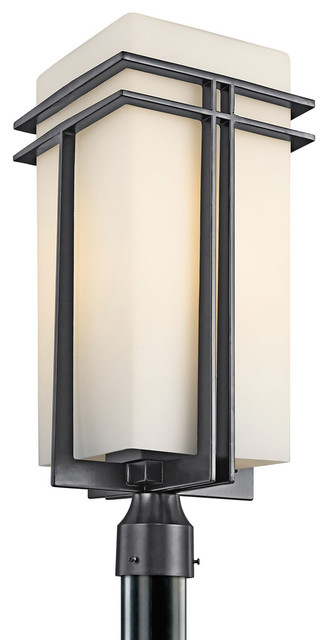 Kichler lighting 49204bkfl tremillo painted black outdoor for Contemporary outdoor post light fixtures