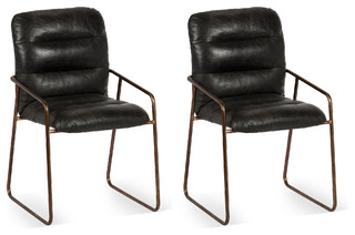 black leather dewey dining chair pair contemporary dining chairs