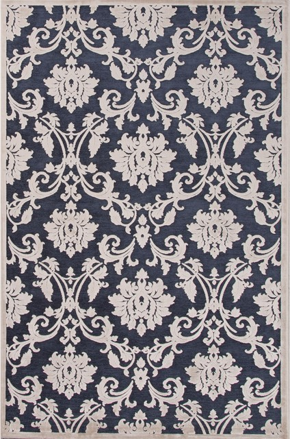 floral transitional rug blue and white 5x7 39 6 traditional area rugs by exquisite designs. Black Bedroom Furniture Sets. Home Design Ideas