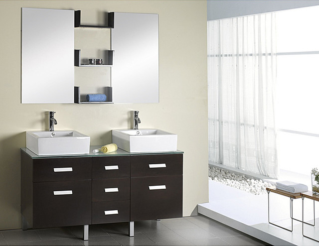 virtu usa maybell 56 inch double sink bathroom vanity set contemporary bathroom sinks by. Black Bedroom Furniture Sets. Home Design Ideas