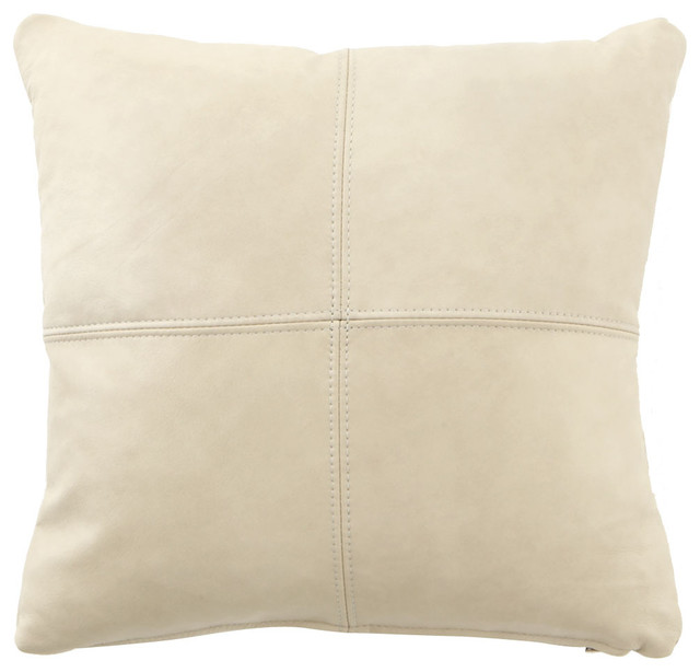 Decorative Cream Pillows : Cream Leather Pillow - CREAM - Contemporary - Decorative Pillows - by Horchow