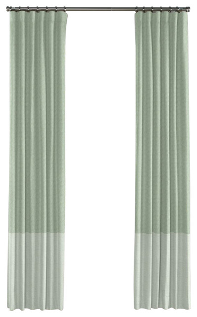 sea green and pale seafoam linen color block curtain