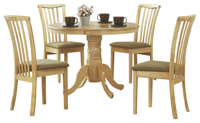 Monarch specialties 1460 5 piece round pedestal dining for Traditional round dining room sets