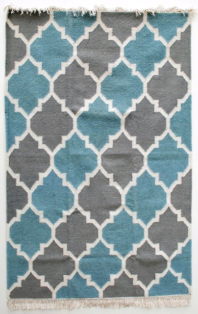 Grey, Light Blue & OffWhite Mughal Lattice Jali wool and