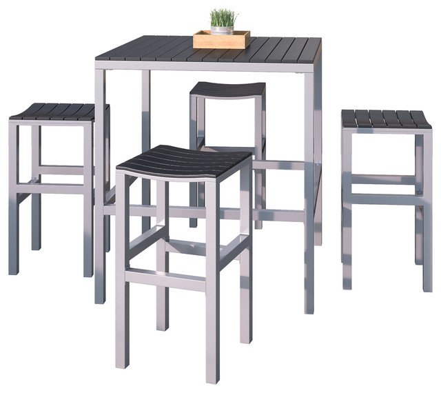CorLiving 5 Piece Aluminum And Black Outdoor Bar Height Bistro Set Scandinavian Pub