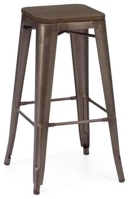Dreux Stackable Rustic Matte Elm Wood Seat Steel