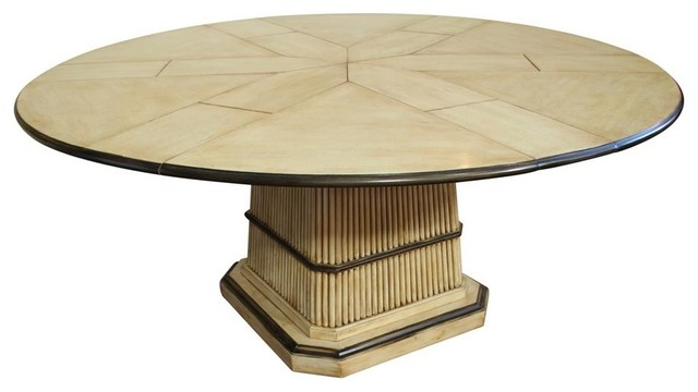 64 to 84 Round to Round Expandable Table with Self Storing  : transitional dining tables from www.houzz.com size 640 x 360 jpeg 32kB