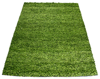 Plush Green Felted Yarn hand-knotted rug - Large - Contemporary - Area Rugs - by Artajul Rugs