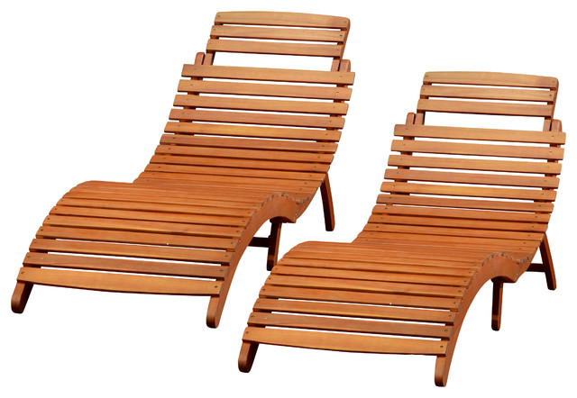 Lisbon Outdoor Folding Chaise Lounge Chair Set 2 Contemporary Outdoor