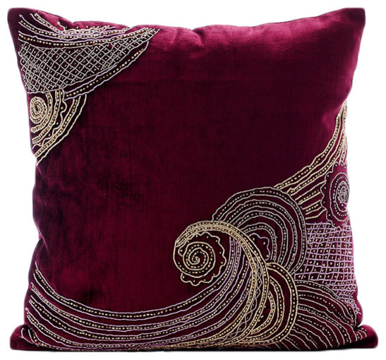 Purple Velvet Throw Pillows : Zardozi Purple Pillow Cases, Velvet 16