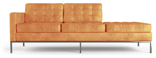 Franklin leather chaise brighton sunset orange for Chaise longue orange