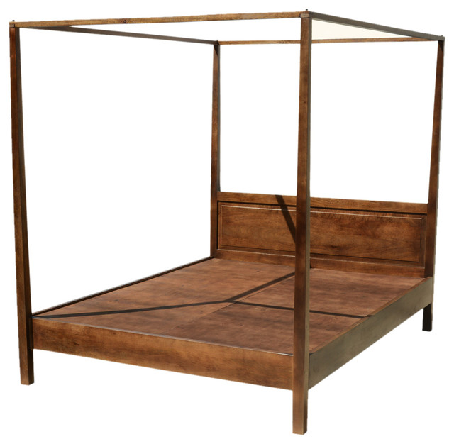 Mission Solid Mango Wood 4 Post Bed With Canopy Frame