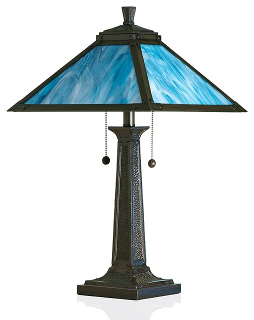 stained glass table lamp craftsman table lamps by opus mosaics. Black Bedroom Furniture Sets. Home Design Ideas