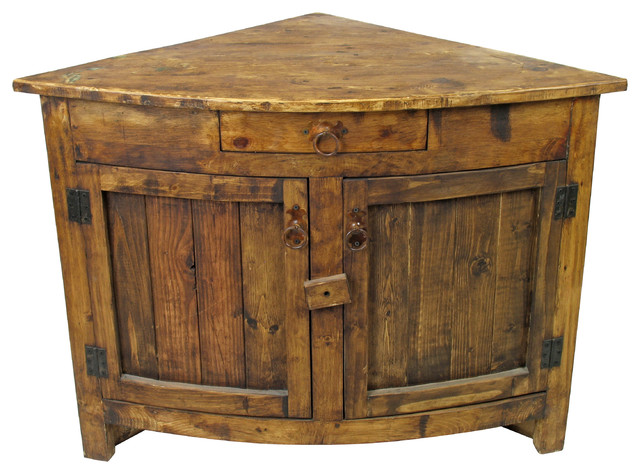 Small Curved Front Rustic Corner cabinet rustic-side-tables-and-end ...