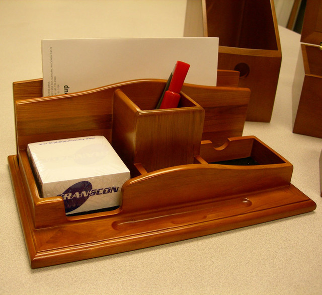 Renaissance solid wood desktop organizer modern desk - Designer desk accessories and organizers ...