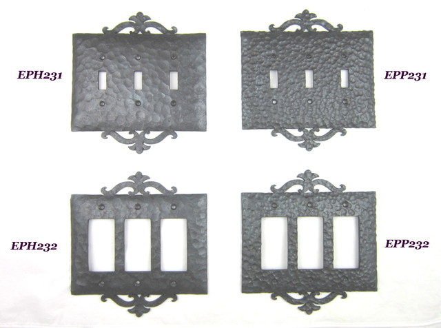 Ep2 series spanish revival rustic wrought iron switchplate triple toggle or gfi mediterranean - Wrought iron switch plate covers ...