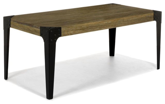 Bark Table Rectangulaire En Orme Massif Et M Tal