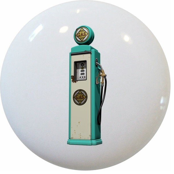 Teal Vintage Gas Pump Ceramic Knob - Contemporary - Cabinet And Drawer Knobs - by Carolina ...