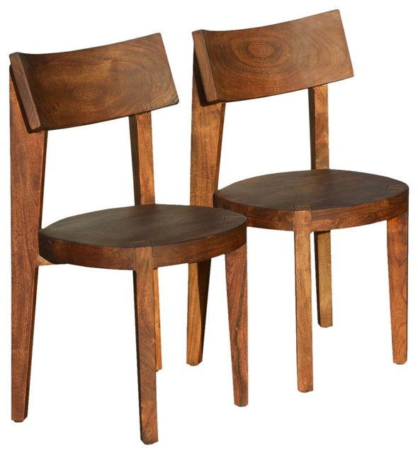 Idaho Modern Rustic Solid Wood Dining Table Chair Set: Rustic Solid Wood Modern Ergonomic Dining Chair Set Of 2
