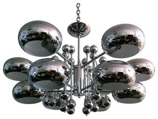 gro e h ngelampe aus chrom bauhaus look deckenbeleuchtung von pamono. Black Bedroom Furniture Sets. Home Design Ideas
