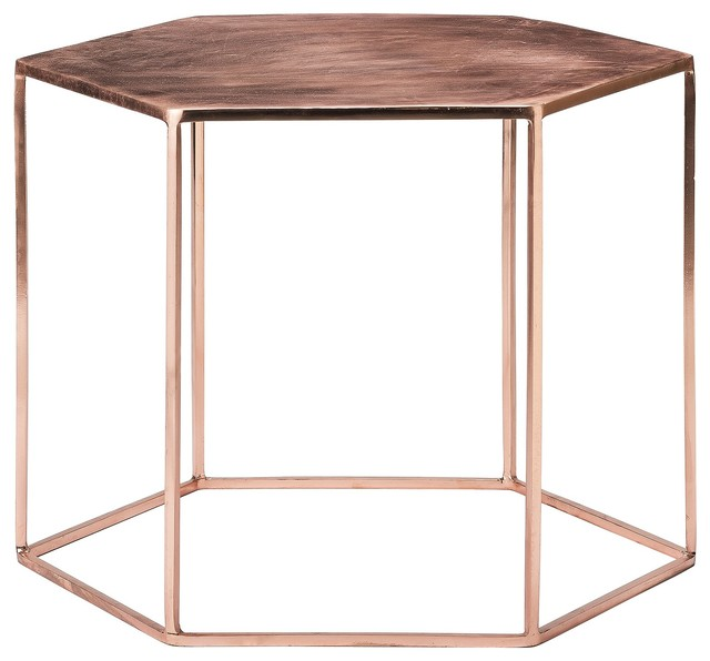 Modern Copper Coffee Table: Copper Plated Hexagonal Table